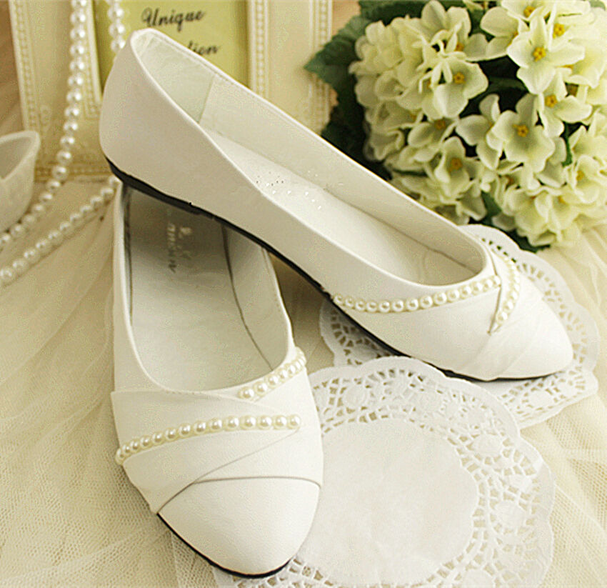Ivory White Pearls Flat Ballet Wedding Shoes Bridal Pumps Bridesmaid Size 5 9