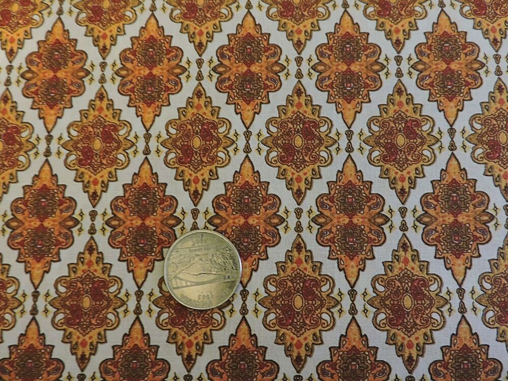 100 cotton fabric fabri quilt royal paisley medallions by the yard ebay. Black Bedroom Furniture Sets. Home Design Ideas