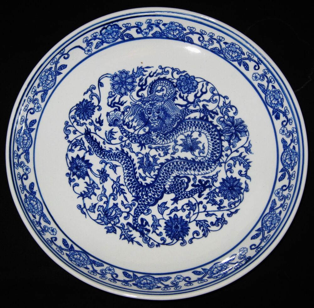 Chinese Porcelain Plates : Antique chinese dragon five claws porcelain b w plate