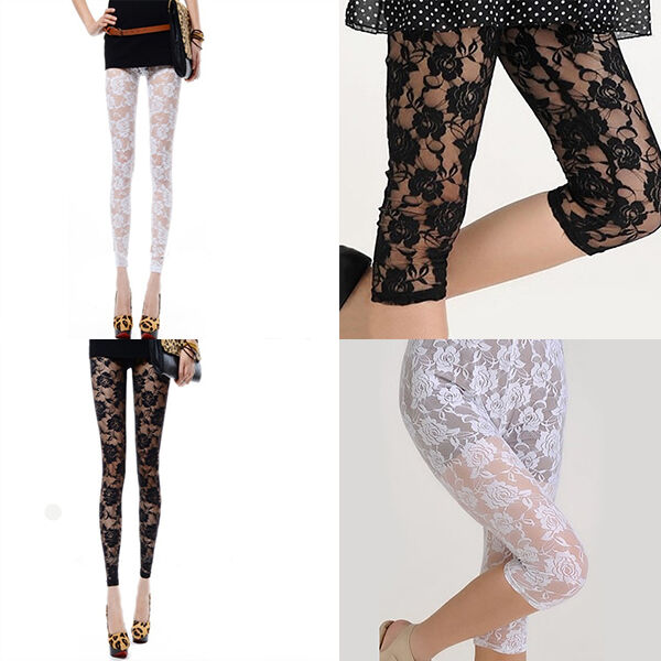 Sexy Women Lady 2 Colors Rose Lace Design See Through Spandex Lycra Leggings | eBay
