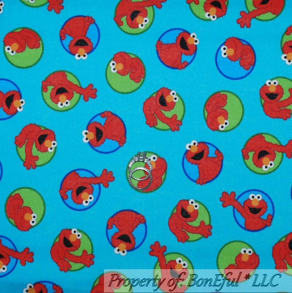 Boneful fabric fq cotton quilt vtg blue red green elmo dot for Baby monster fabric