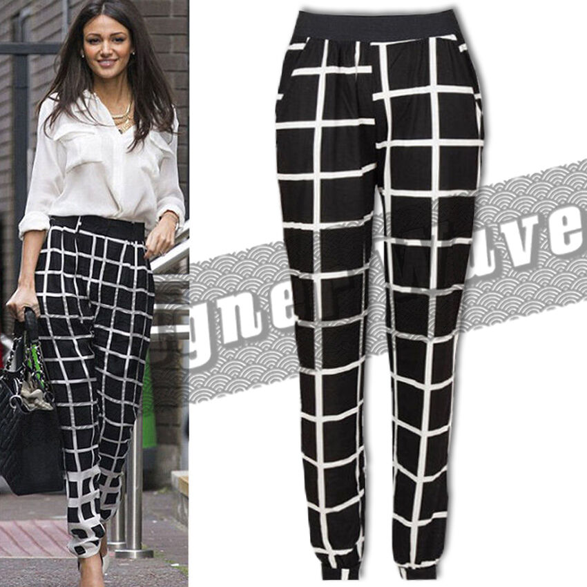 Ladies Celeb Style Check Trouser Loose Harem Pants Cuff ...
