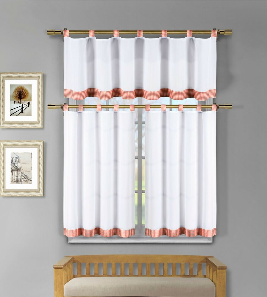 3 pc white kitchen window curtain set orange check design for 3 window curtain design