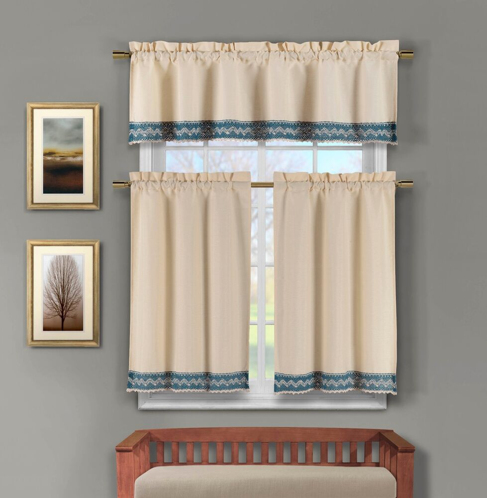 3 Pc Linen Kitchen Window Curtain Set: Crochet Blue And