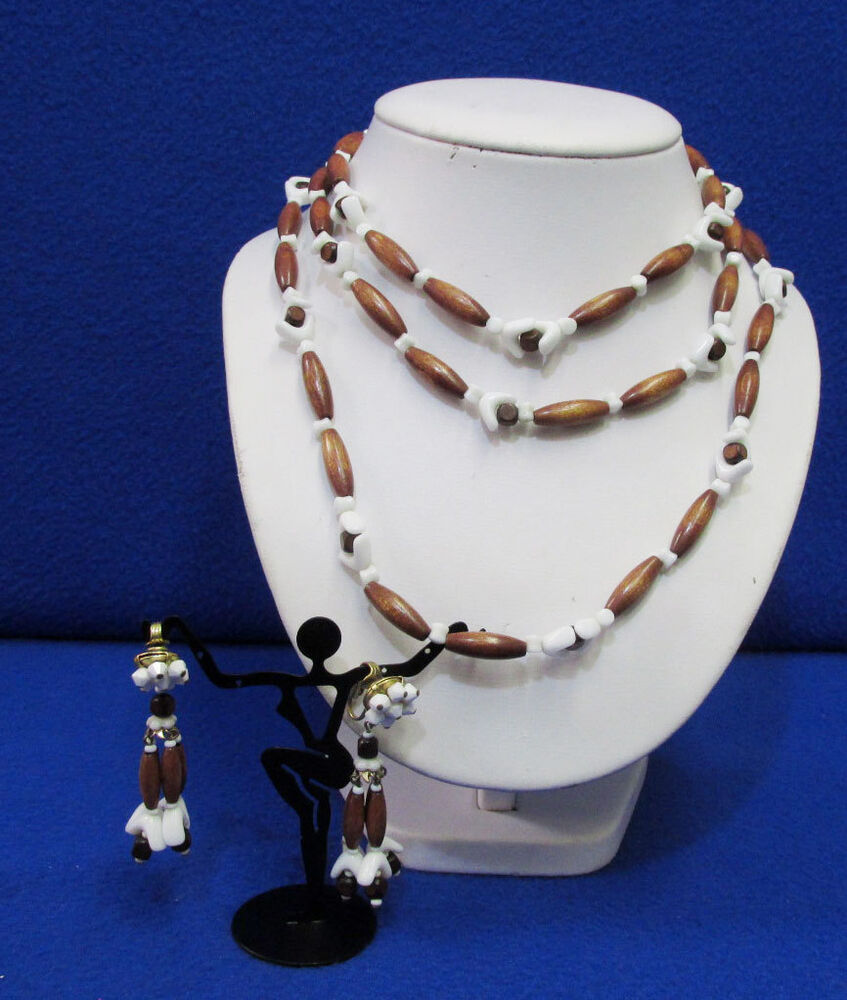 Vintage Brown Wooden White Plastic Beaded Necklace & Clip ...