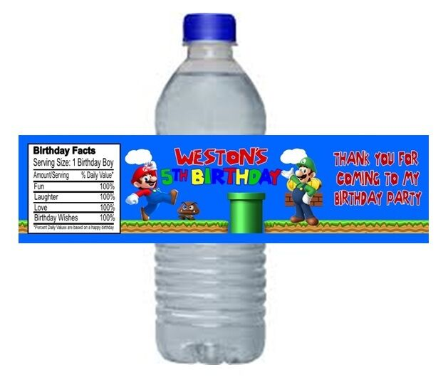 Personalized Sports Bottle Labels: Super Mario Luigi Birthday Party Water Bottle Labels