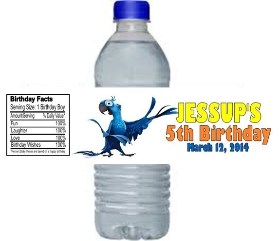 Personalized Sports Bottle Labels: Rio Birthday Party Water Bottle Labels Favors Personalized