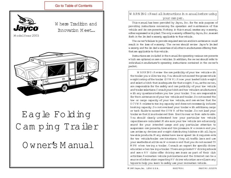 Jayco eagle tent trailer Manual on