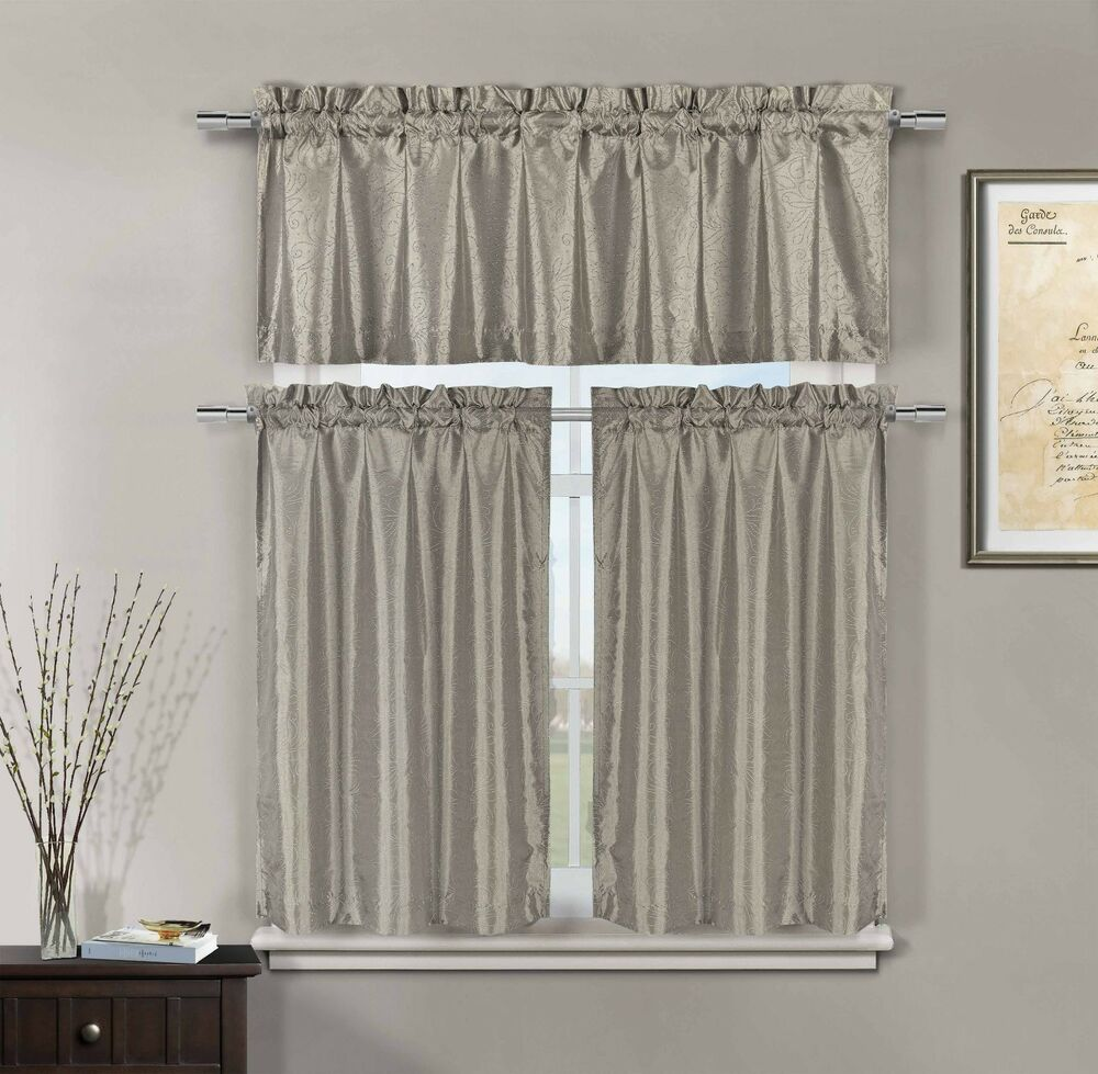 3 Pc Silver Taupe Faux Silk Kitchen Window Curtain Set