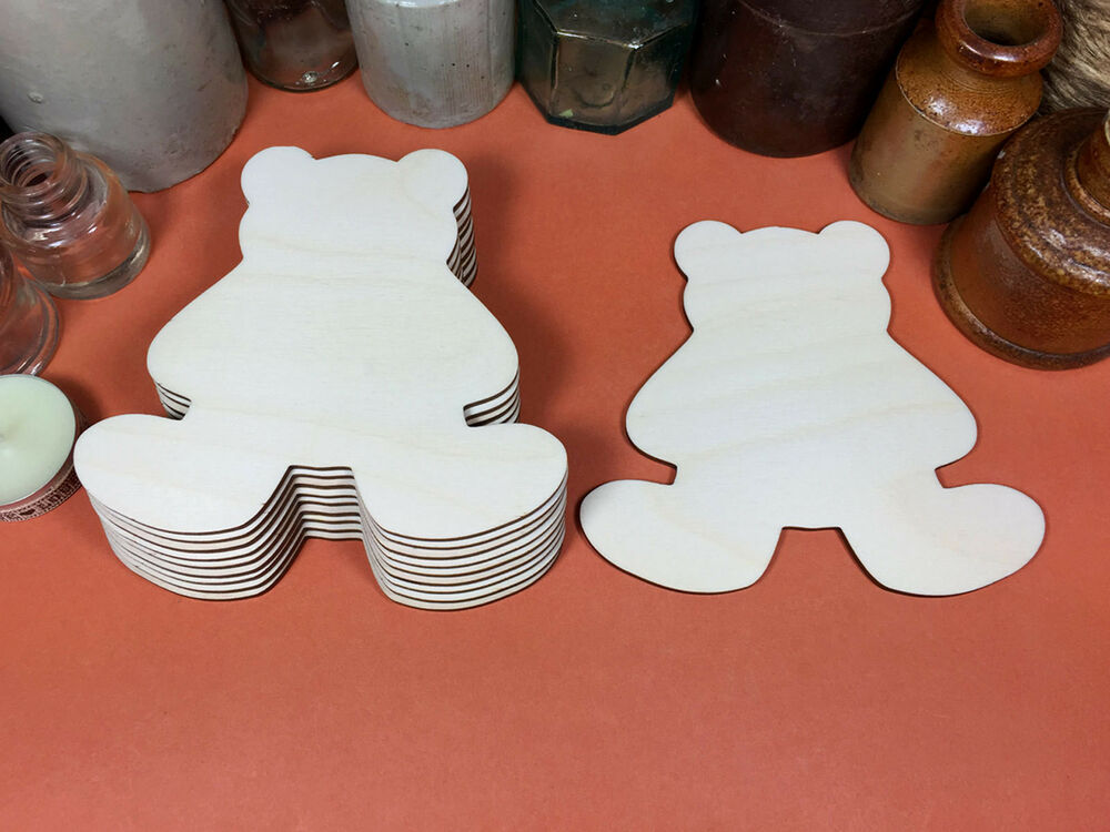 Wooden bear teddy shapes 11cm x10 laser cut wood cutouts for Wood cutouts for crafts