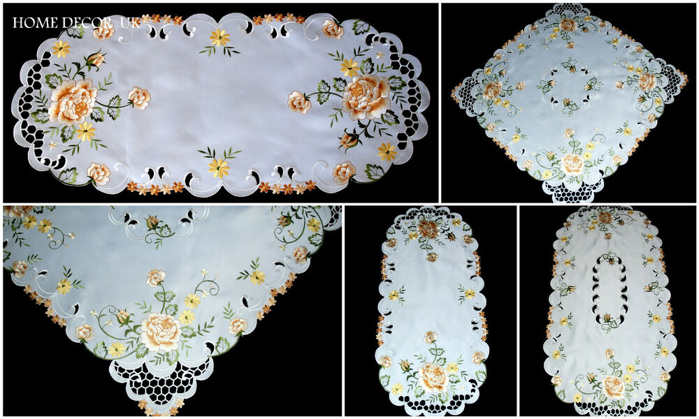 Gold roses tablecloth table runner doily with embroidered