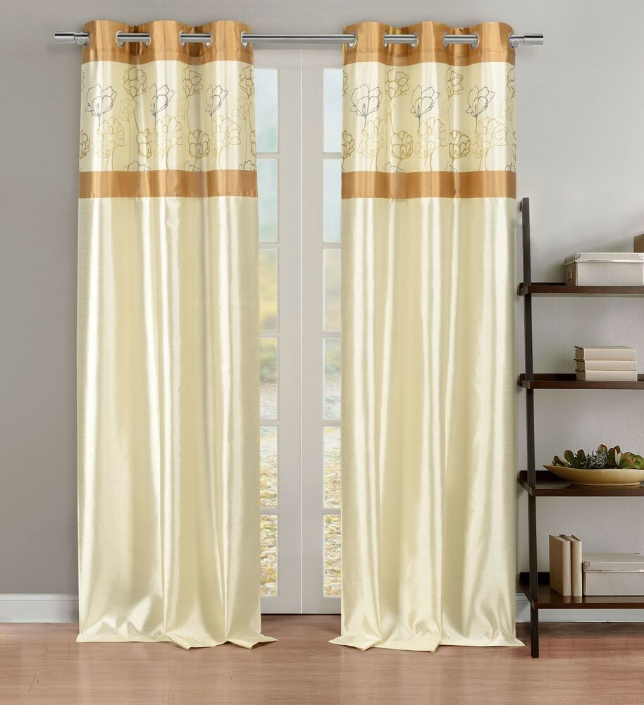 Silky 2 Window Curtain Panels With Grommets: Linen & Gold