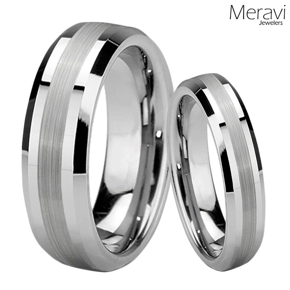 tungsten wedding rings his amp tungsten silver mens womens wedding engagement 8108
