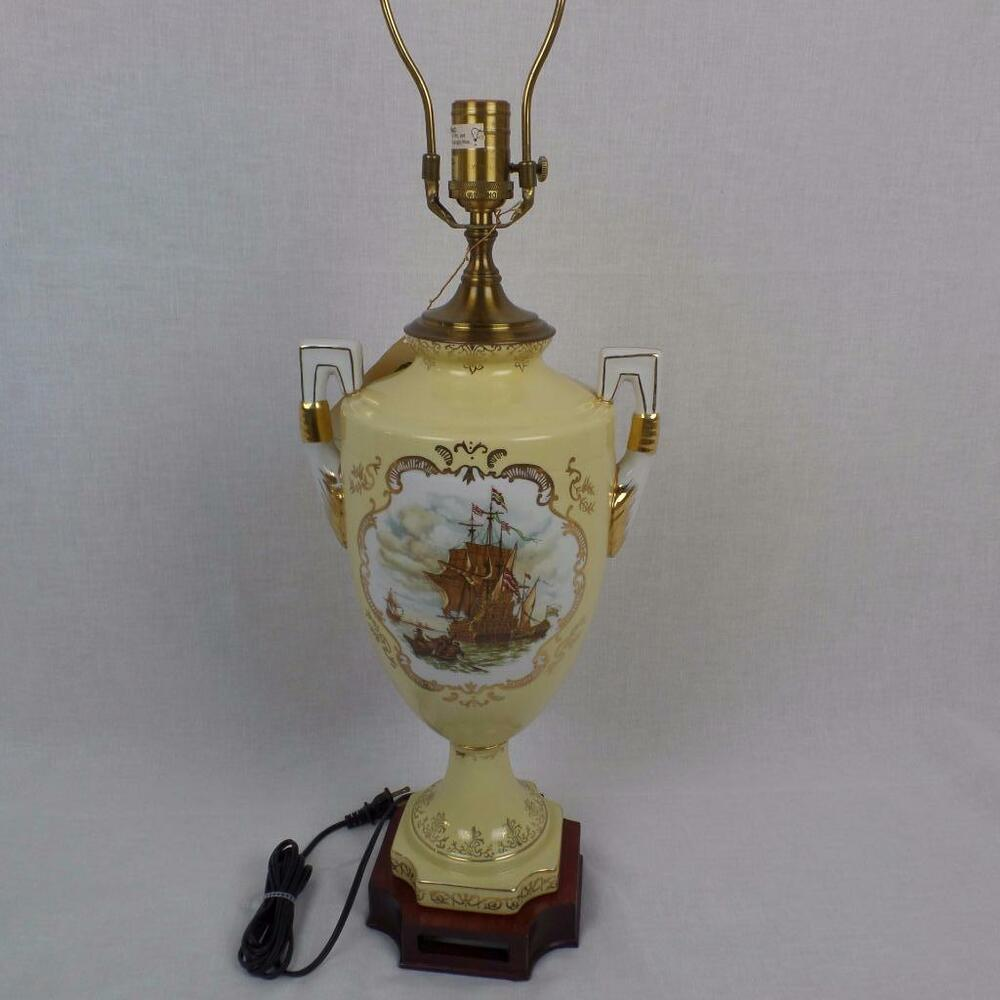 Lamp S: Vintage WILDWOOD Lamp Porcelain Painted Ships Yellow Urn