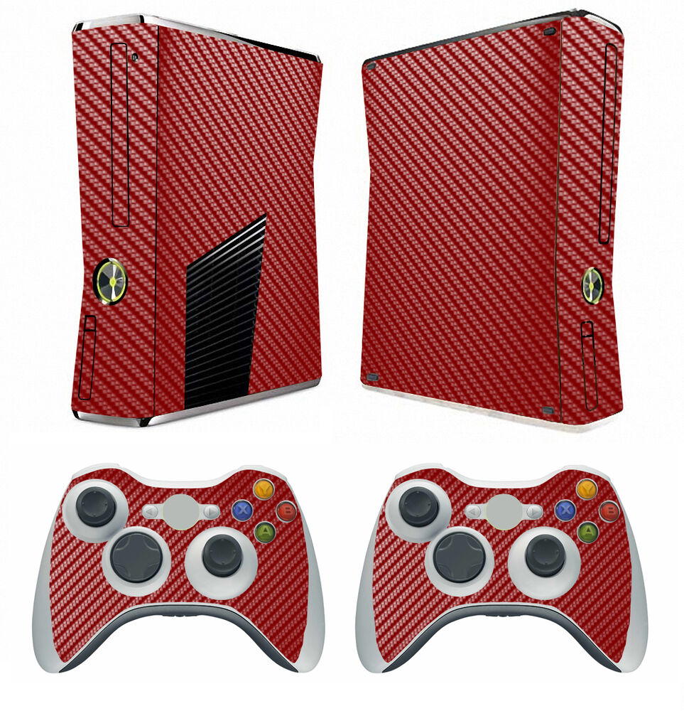 Red Carbon Fiber Decal Skin Sticker For Xbox360 Slim And 2