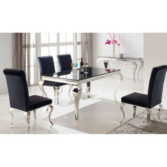 Mauna Tempered Glass Top Round Dining Table Set: LOUIS BLACK TEMPERED GLASS TOP DINING TABLE, STAINLESS