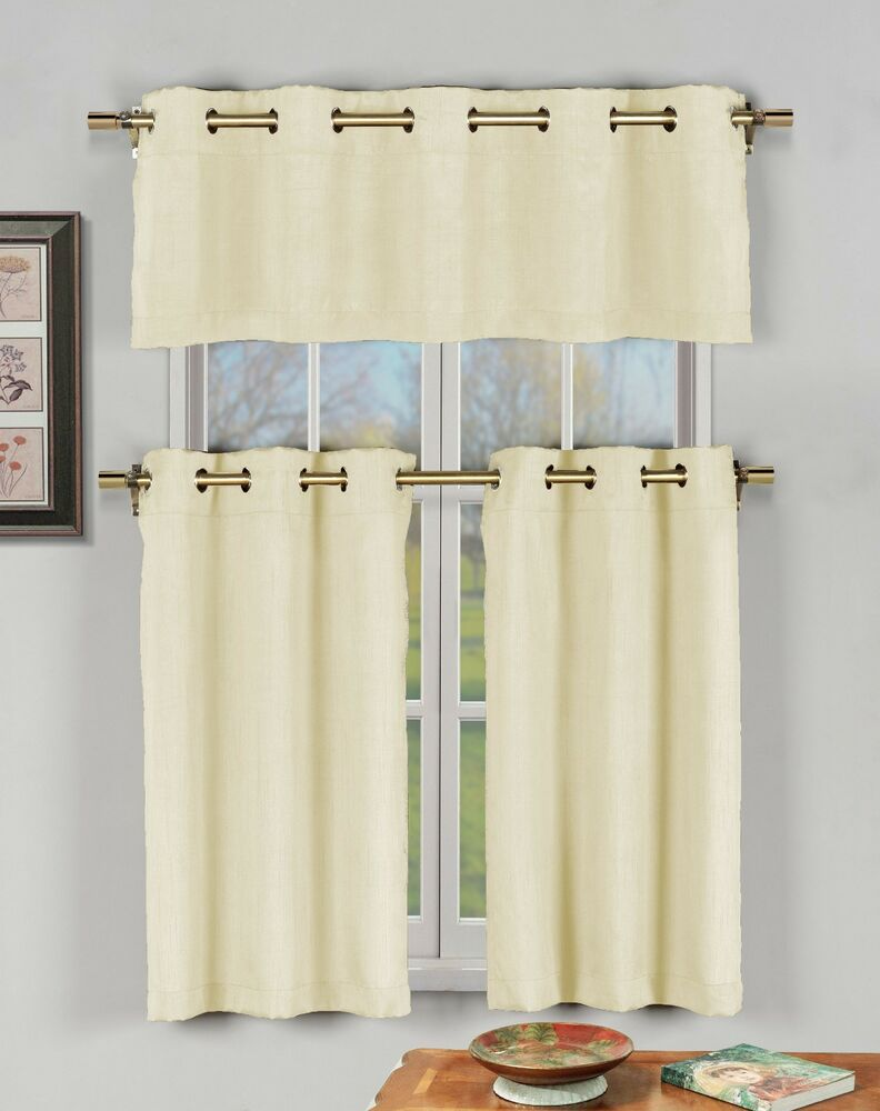 Champagne 3 pc kitchen window curtain set w metal for Valance curtains for kitchen