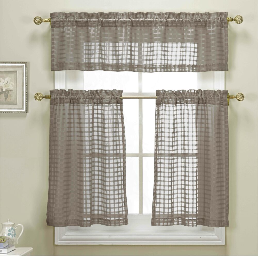 3 Piece Taupe Sheer Kitchen Curtain Set Woven Check