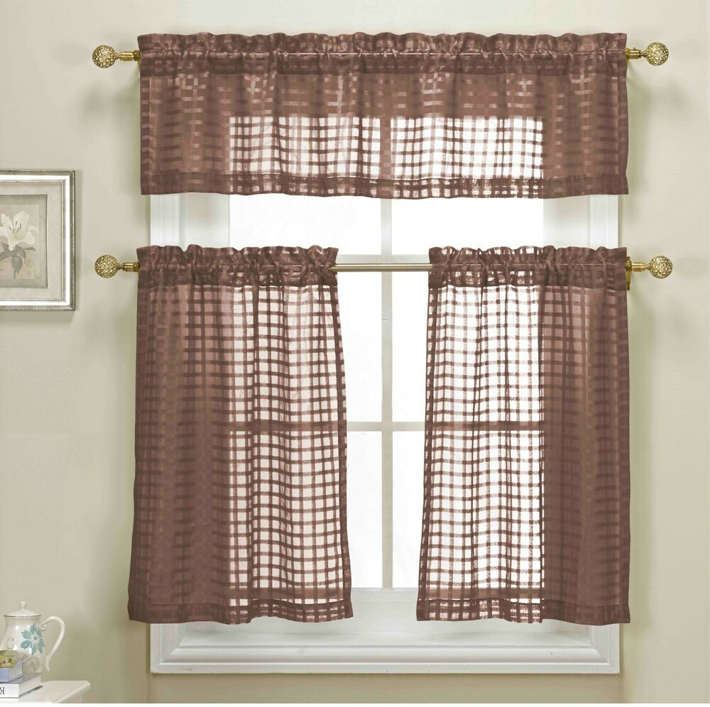 3 Piece Brown Sheer Kitchen Curtain Set: Woven Check