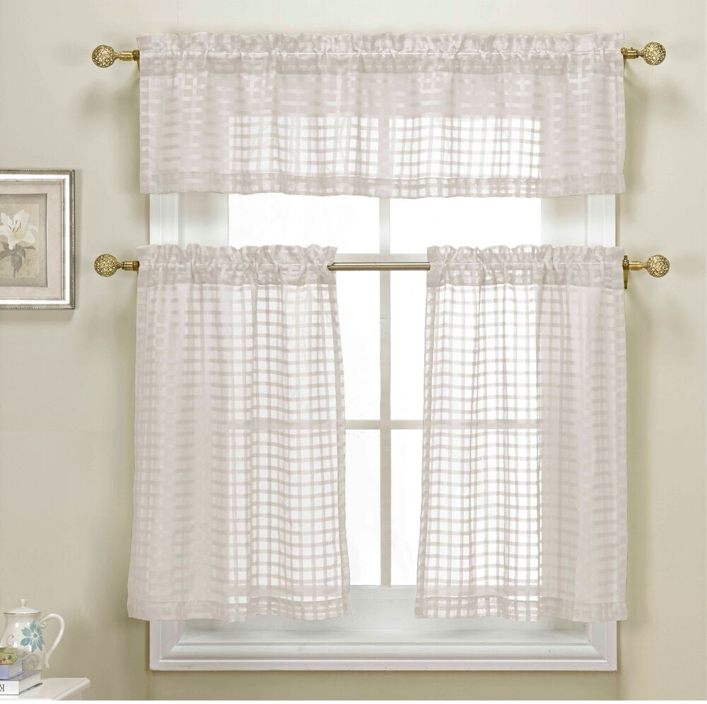 3 Piece White Sheer Kitchen Curtain Set Woven Check Design 1 Valance 2 Tiers Ebay