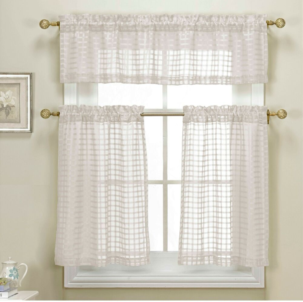3 white sheer kitchen curtain set woven check