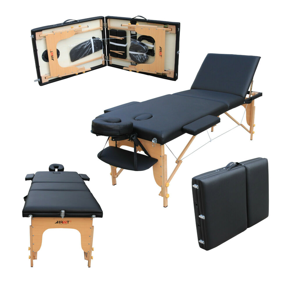 Lightweight portable massage table - H Root Large Deluxe 3 Section Lightweight Portable Massage Table Couch Bed Black Ebay