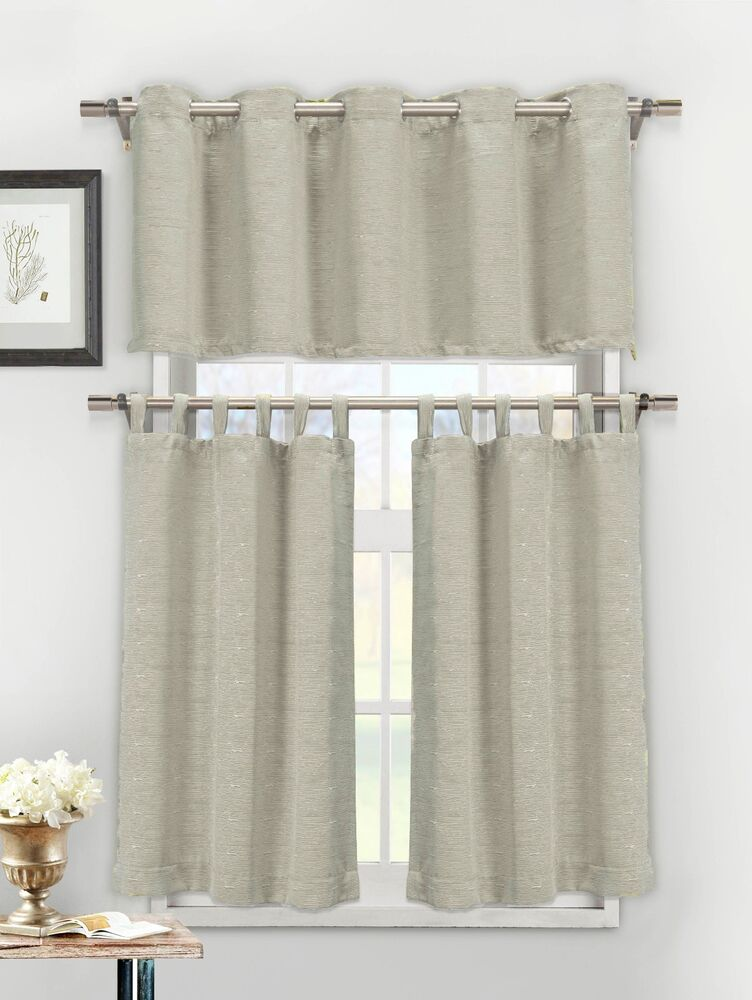 3 Piece Textured Cotton Blend Silver Taupe Jacquard