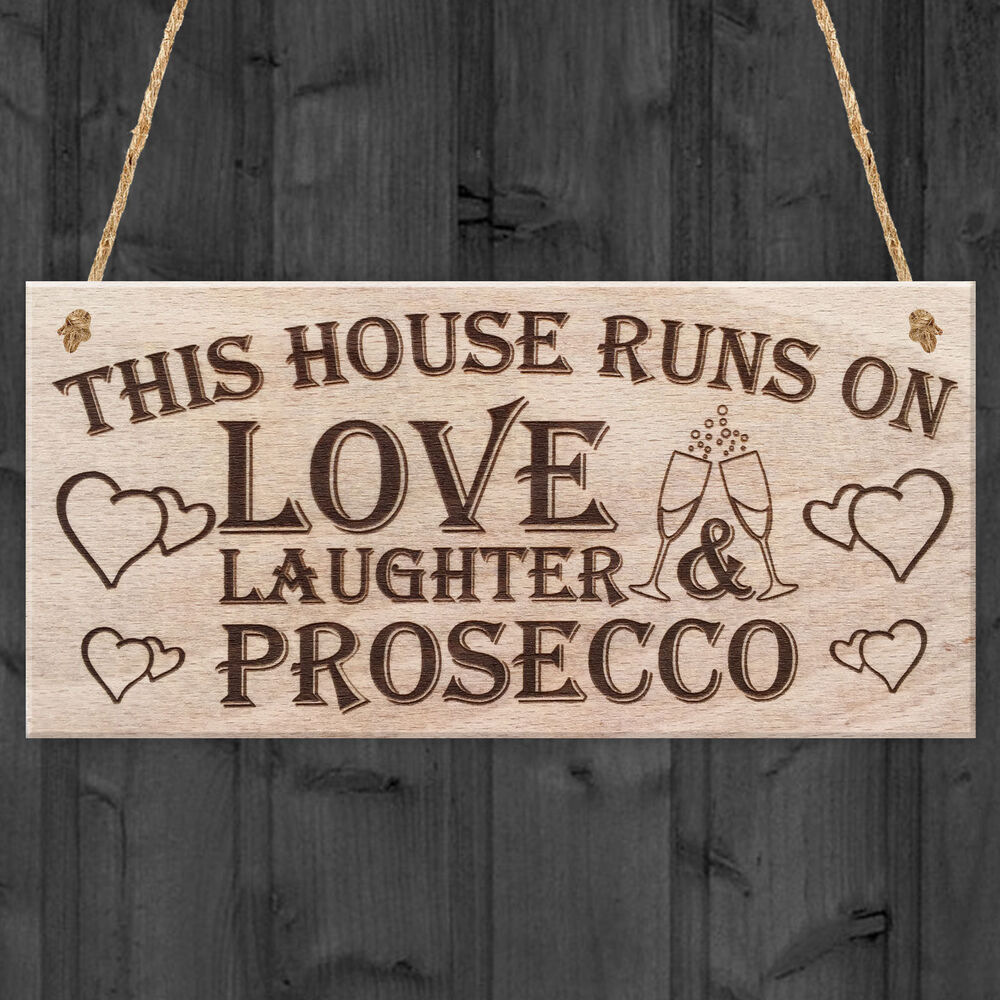 Hand made love prosecco home decor funny poem hanging