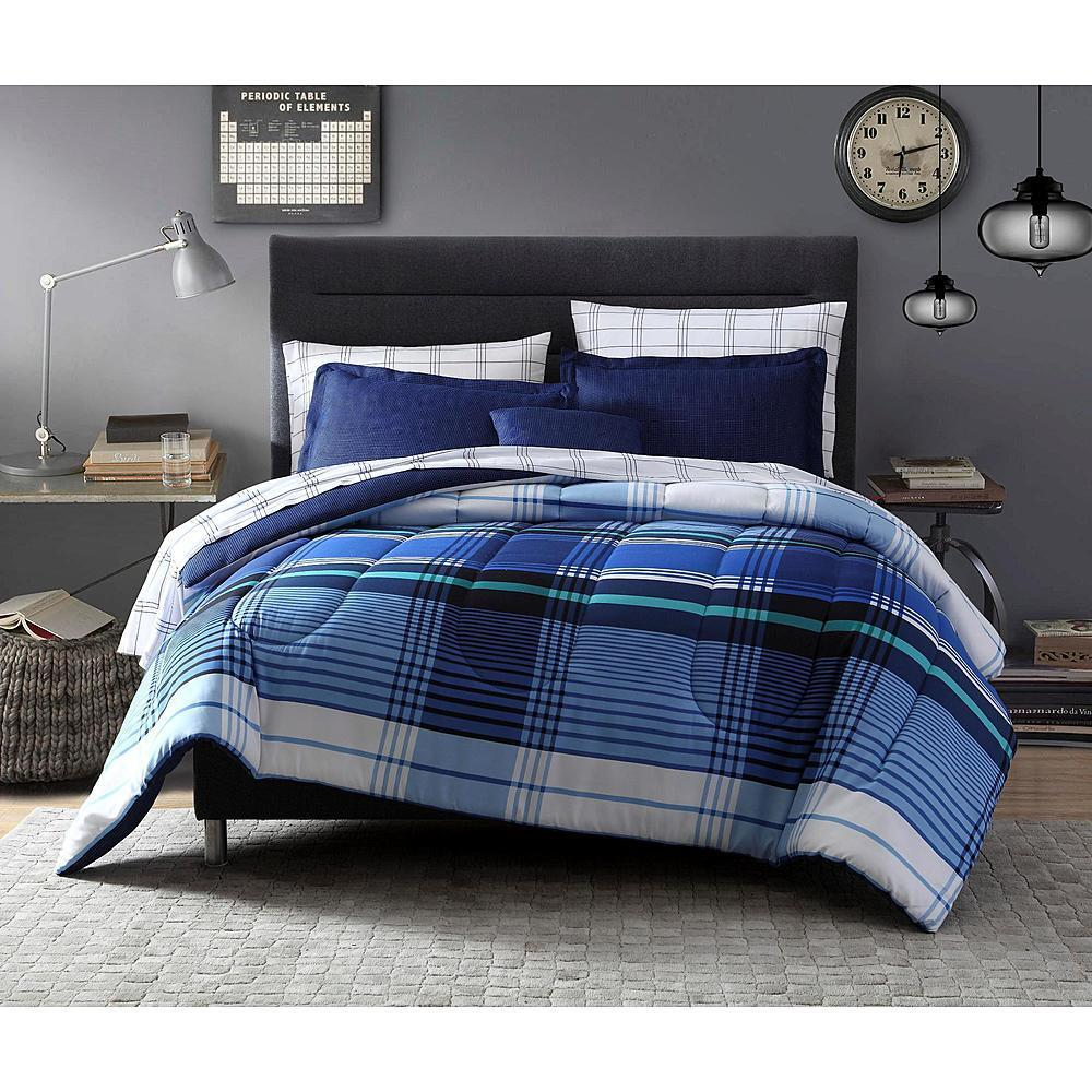 complete bed sets 8 pieces complete bedding set blue white comforter striped 11182