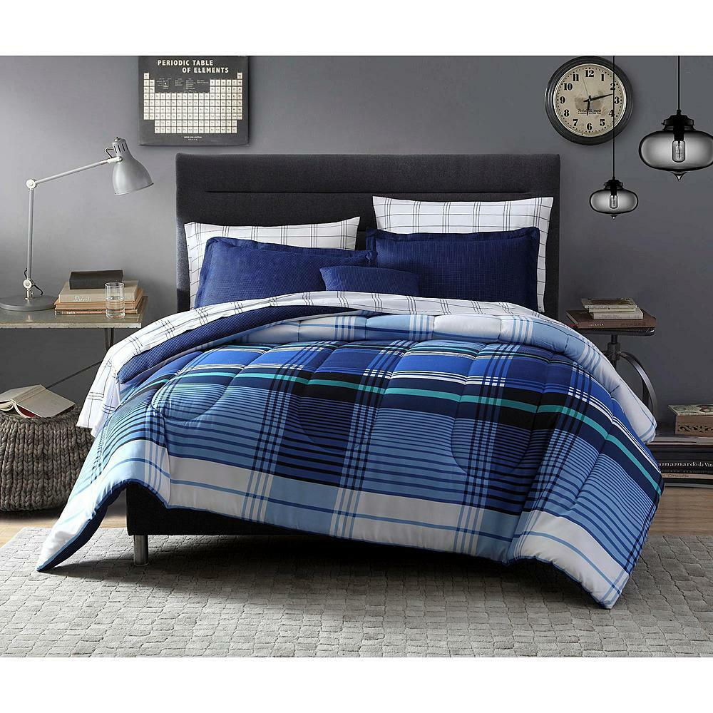 8 pieces complete bedding set blue white comforter striped for Complete bedroom sets with mattress