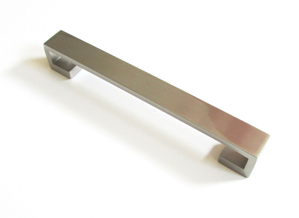 Modern 6 satin nickel kitchen cabinet door drawer handle for Kitchen cabinet hardware