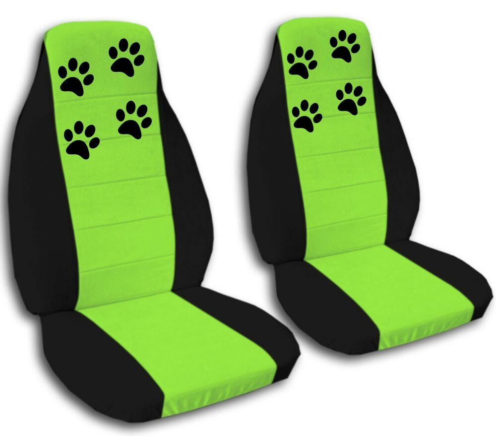 2 Black And Lime Green Paw Print Seat Covers For A 1998 To