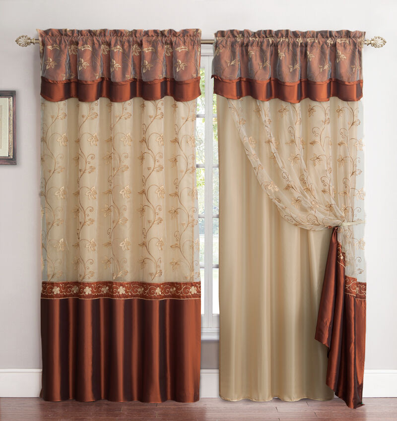 Double Panel Window Curtains : Panel window curtain drapery set double layer