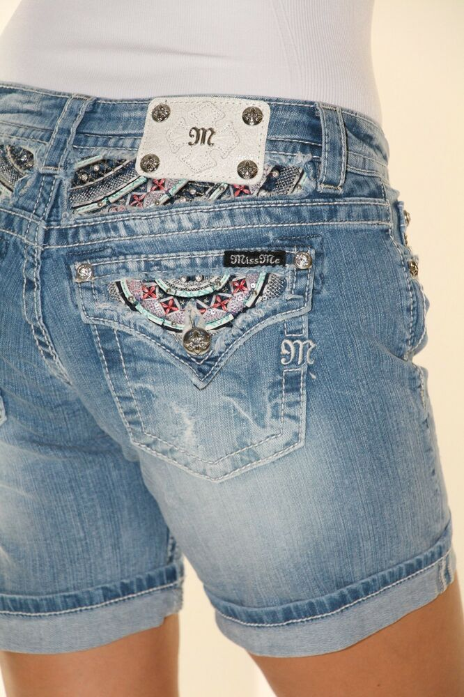 Miss Me Jeans Shorts Tribal Color Pocket Bermuda Ripped ...