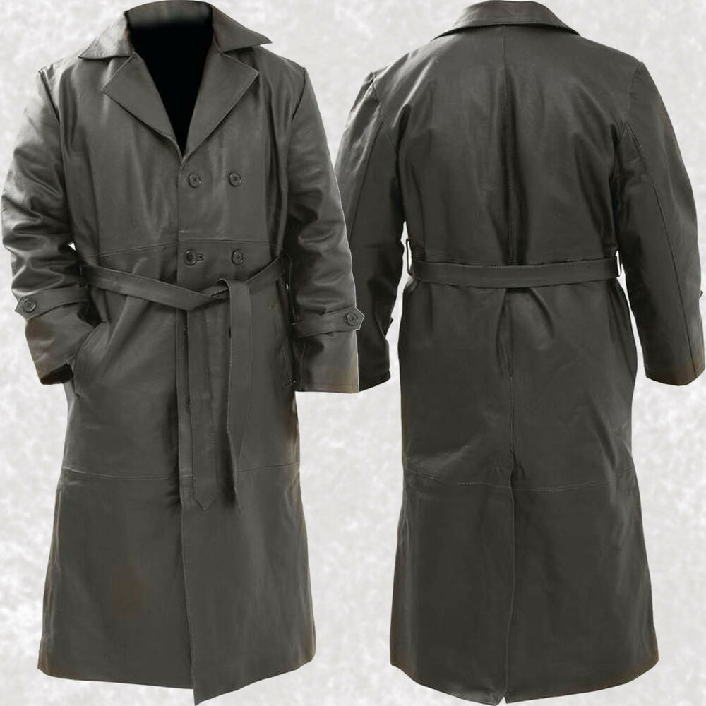 Mens Black Solid Leather Long Trench Coat Duster Button ...