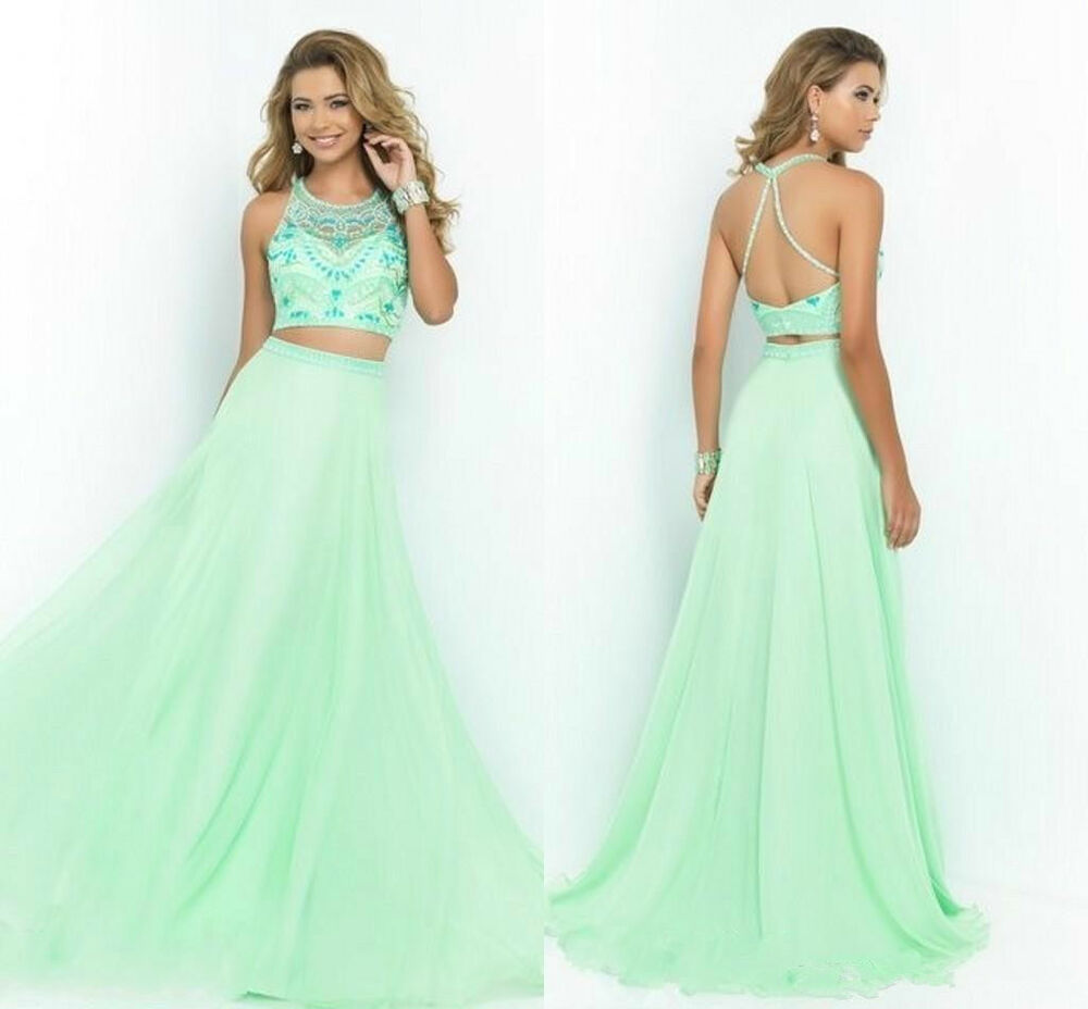 Formal Gowns: Romantic Two-Piece Prom Dresses Long Beading Party Evening