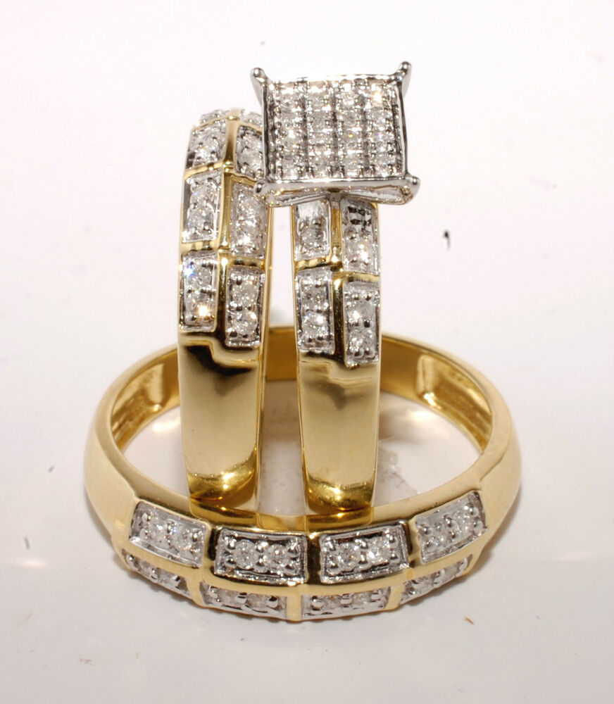 Gold diamond trio bridal ring wedding engegement for Ebay diamond wedding ring sets