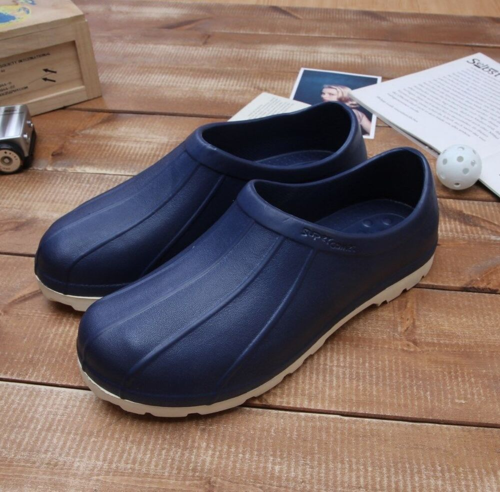 Navy Chef Shoes Non-Slip Clogs Water Oil Safety Hospital