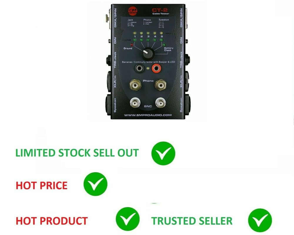 Audio Cable Tester : Sm pro ct cable tester audio speakon xlr trs quot phono