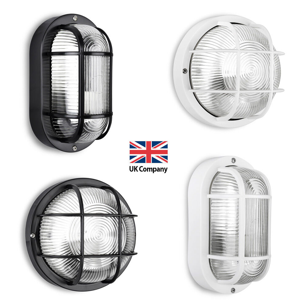 Outdoor Wall Light Replacement Glass: IP44 Black / White Outdoor Exterior LED Bulkhead Security