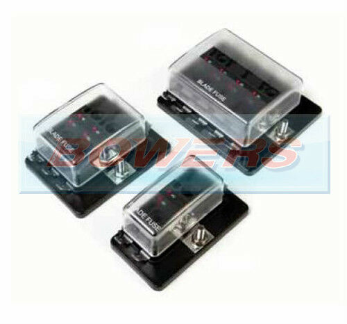 4/6/10 way 1 positive bus in led warning fuse box holder ... mini blade fuse box 6 way blade fuse box 1 positive bus in