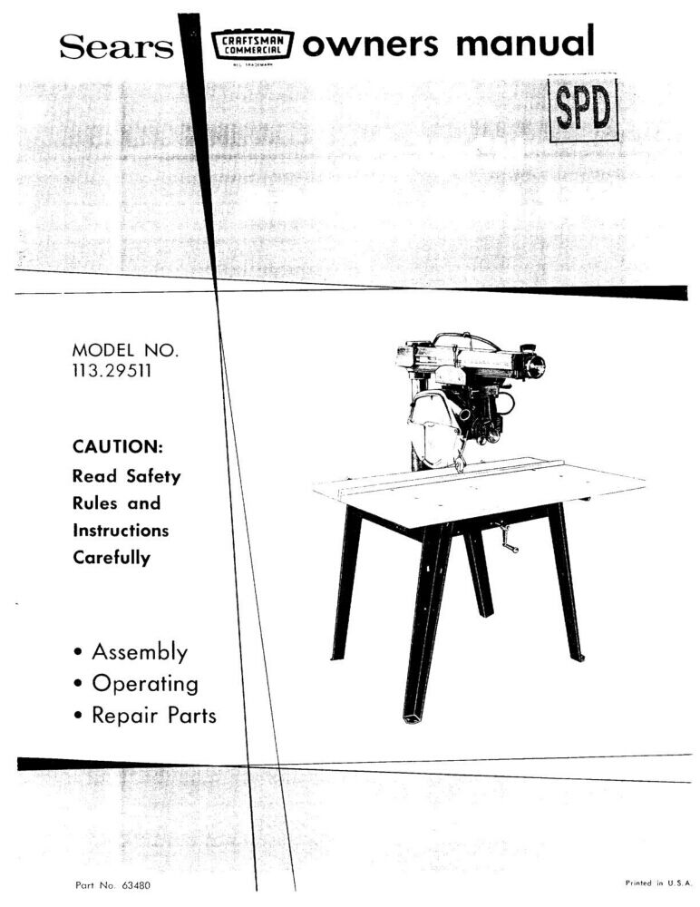 1972 craftsman 113 29511 commercial radial arm saw