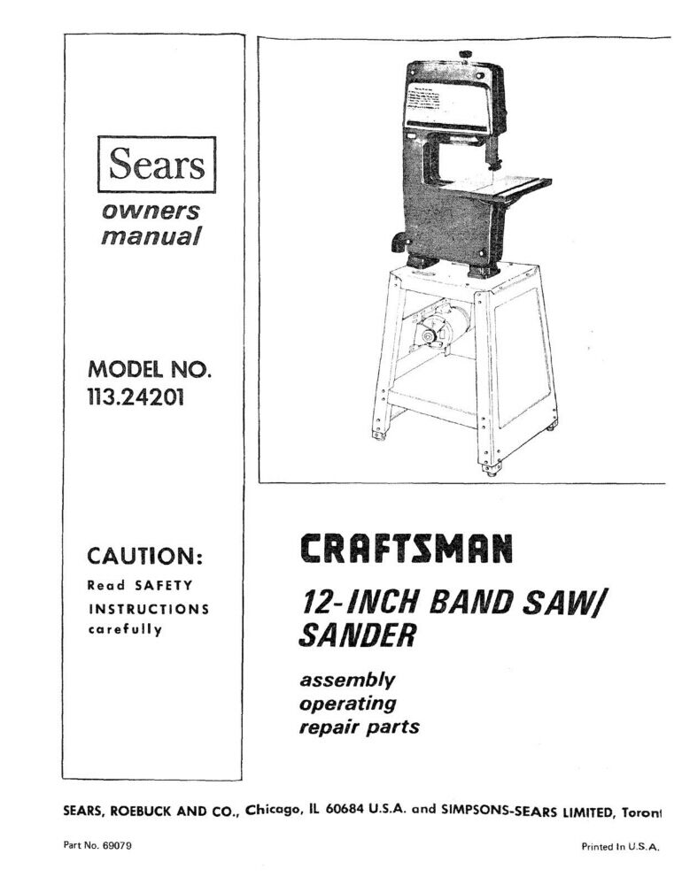1973 craftsman 113 24201 12 quot  band saw  sander instruction User Manual Guide Service Manuals