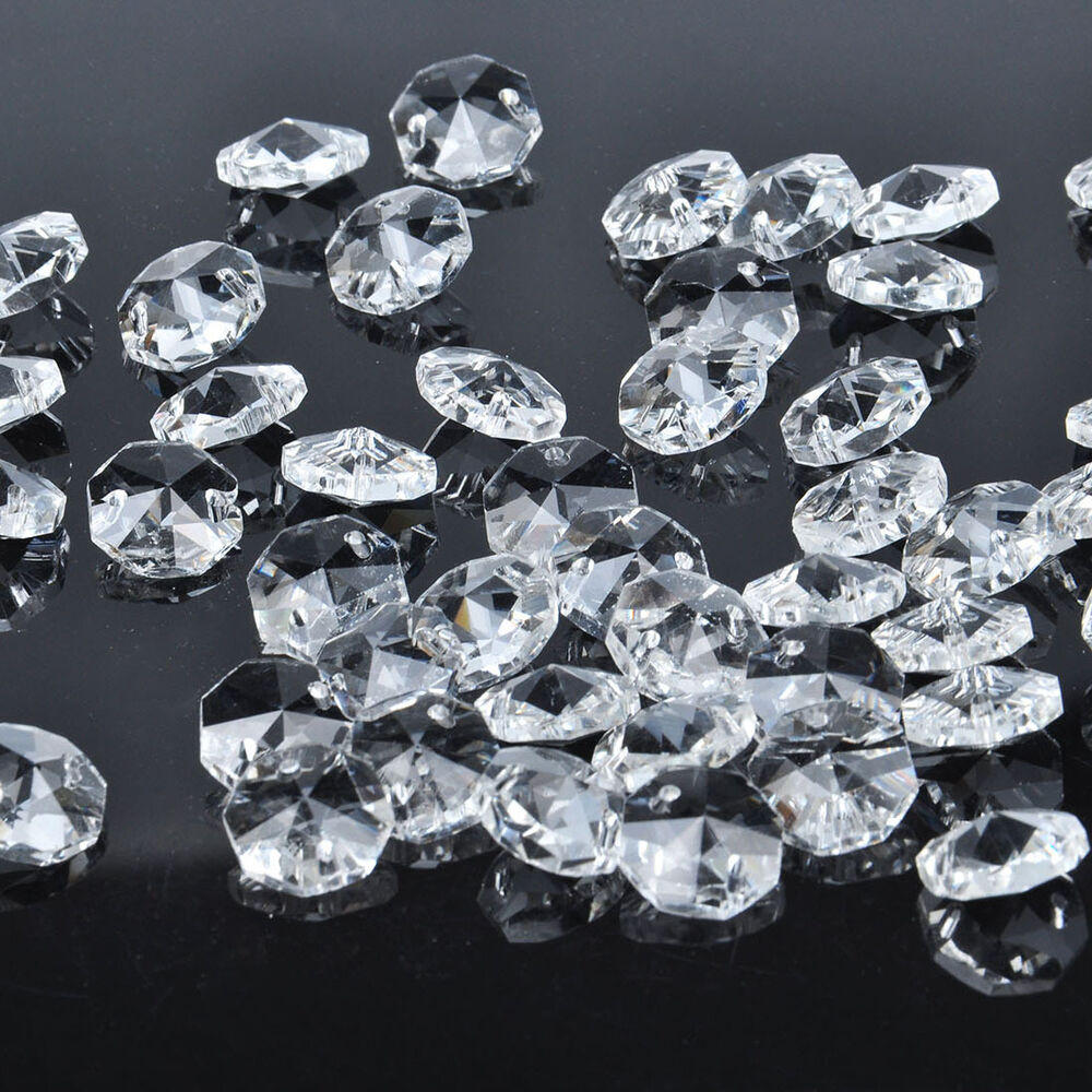50 pcs 2 hole clear octagon crystal glass beads chandelier chain part lighting ebay - Chandelier glass beads ...