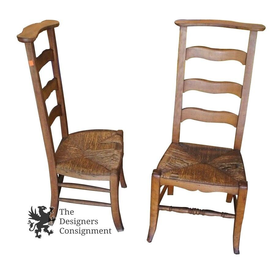 2 Antique Ladderback Butler Chairs Clothing Valet Wicker Seat Arts + Crafts : eBay