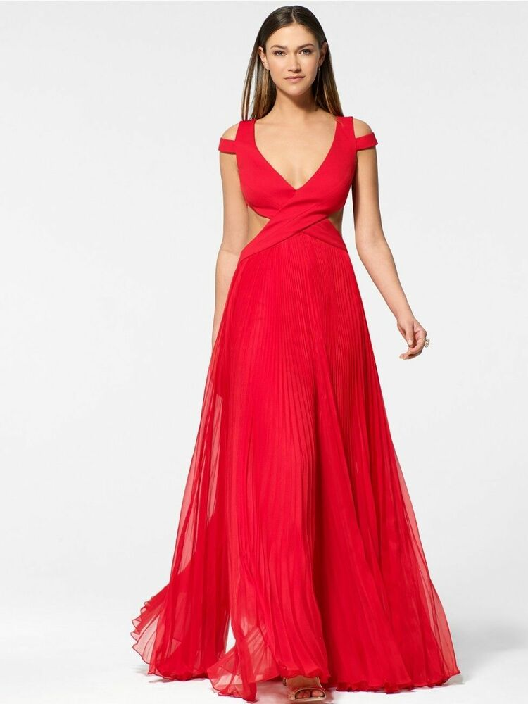 CACHE NWT Sexy Red Pleated Skirt Open Back Formal Dress ...