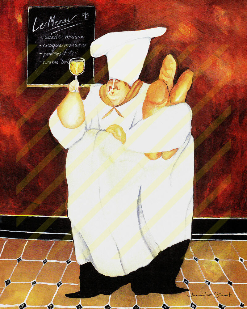 French kitchen art poster print fat chef holding bread for French kitchen artwork