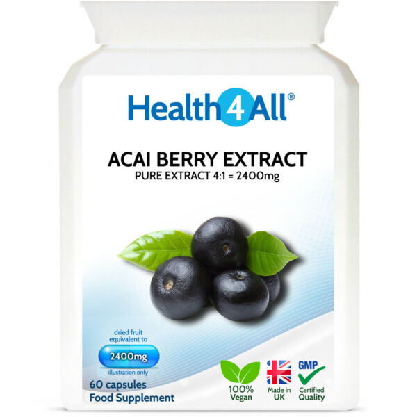 Health4All Pure Acai Berry 2400mg Capsules | RADIANT SKIN | STRONG ANTIOXIDANT