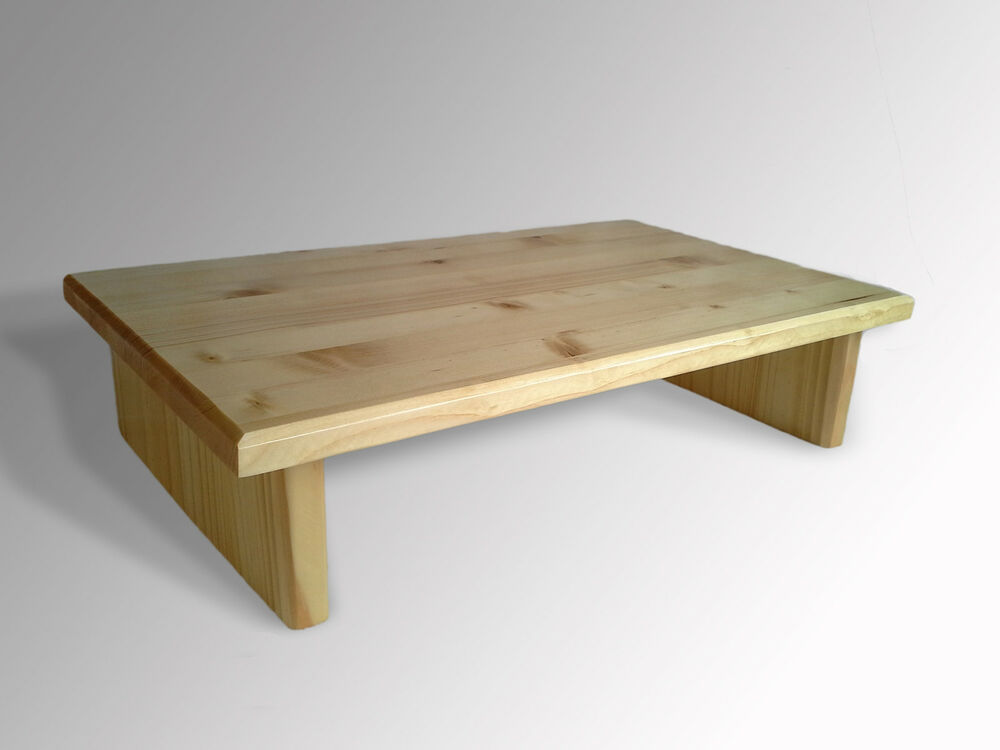 L k monitor stand pine natural stain tv wood