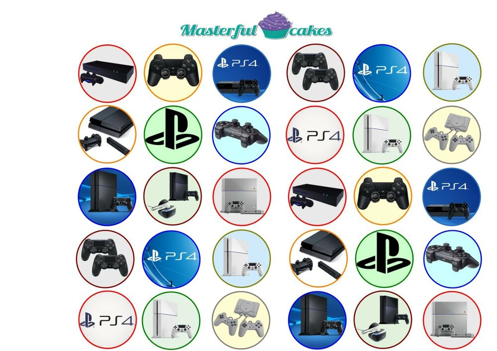 30 x Mixed Playstation 4 Design Edible Wafer or Icing Cup ...